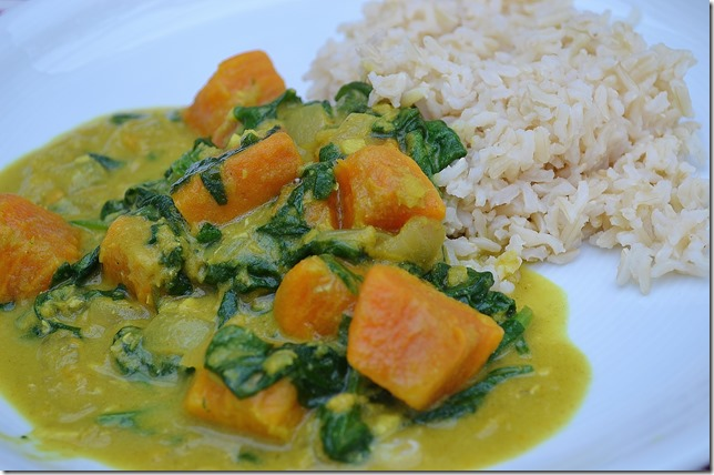 Sweet Potato, Spinach + Coconut Dahl with Brown Rice