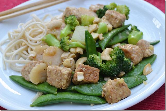 Ginger Cashew Tempeh + Sugar Snap Peas