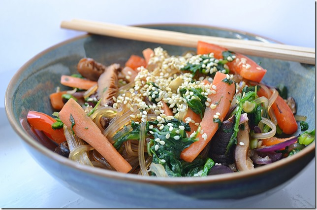 Japchae- Korean vegetable noodle dish