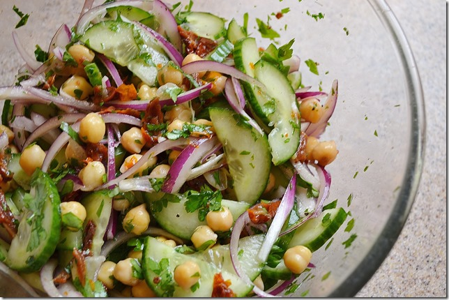 Chickpea Salad with Cucumber, Parsley + Sun-dried Tomatoes
