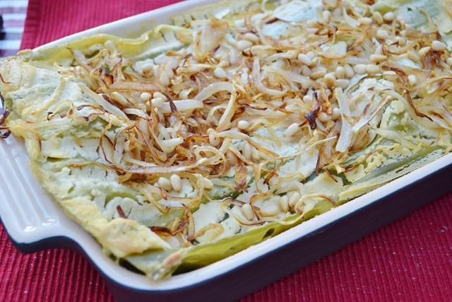 Swiss Chard Lasagna with Golden Raisins + Pine Nuts (Vegan)