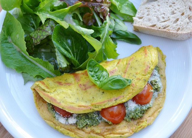 Pesto-Ricotta Tofu Omelettes with Chery Tomatoes