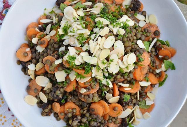Moroccan Puy Lentil,Carrot + Mint Salad