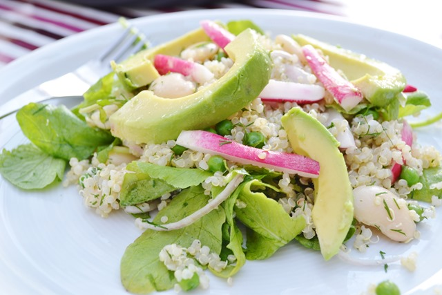 Radish, White Bean + Avocado Quinoa Salad
