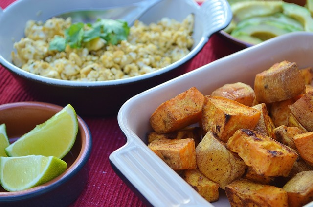 Chipotle Roast Sweet Potatoes, Cheesy Tofu Scramble