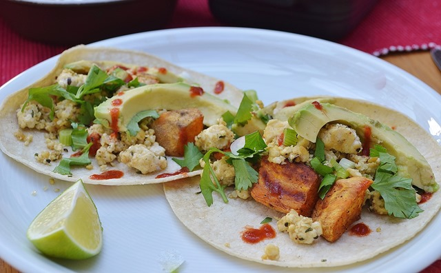 Cheesy Tofu Scramble + Chipotle Sweet Potato Tacos