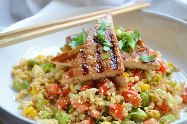 Cauliflower Rice with Grilled Asian Tofu