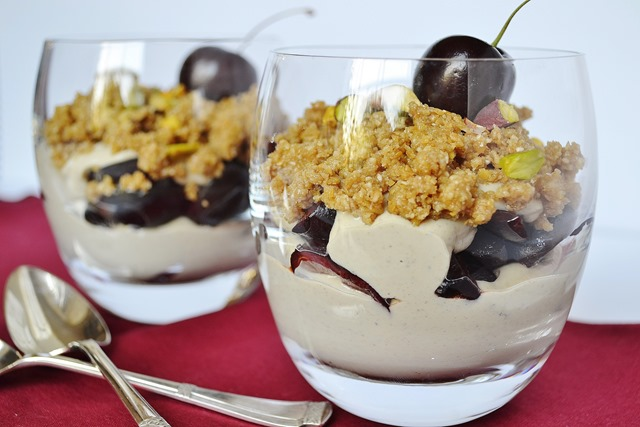 Cherry, Pistachio Cream Oat-Flax Crumble Parfait