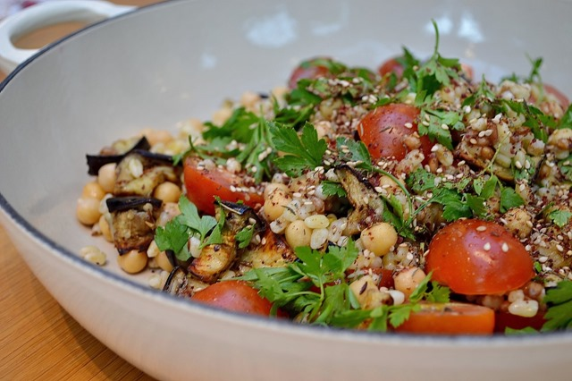 Wheat Berry Salad with Chickpeas + Za'atar