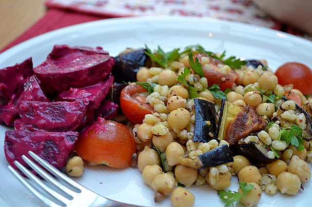 Wheat Berry Salad with Chickpeas + Za'atar, Tahini Beetroot
