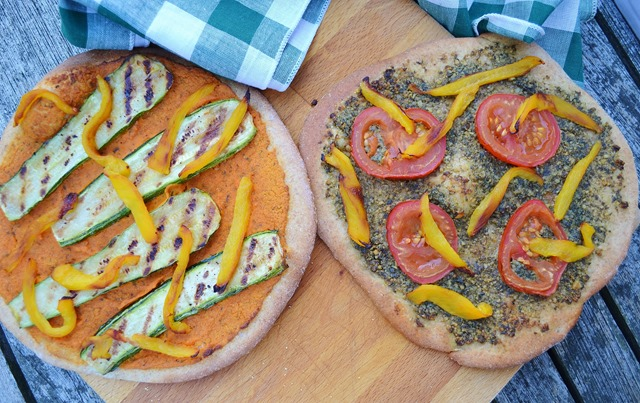 Vegan Spanish Romesco/Pesto Pizza with Grilled Vegetables