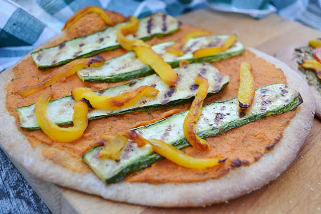 Vegan Spanish Romesco Pizza with Grilled Vegetables
