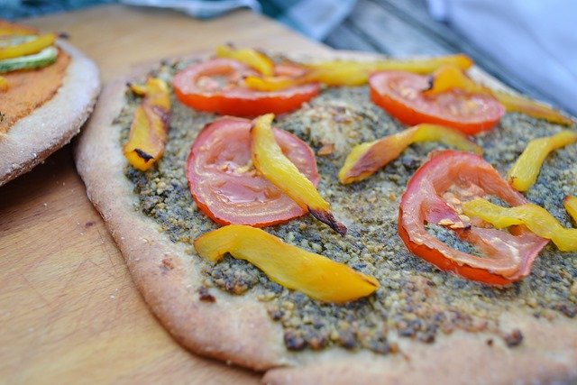 Vegan Pesto Pizza with Grilled Vegetables