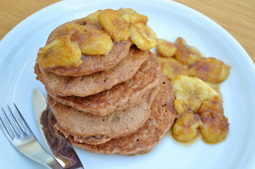 Teff Pancakes with Caramelized Bananas