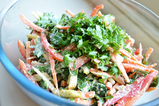 Kale Slaw with Curried Almond Dressing (Let Them Eat Vegan)