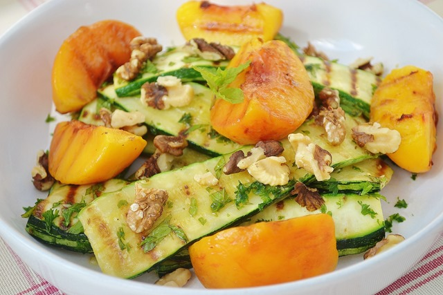 Grilled Peach, Courgette + Walnut Salad