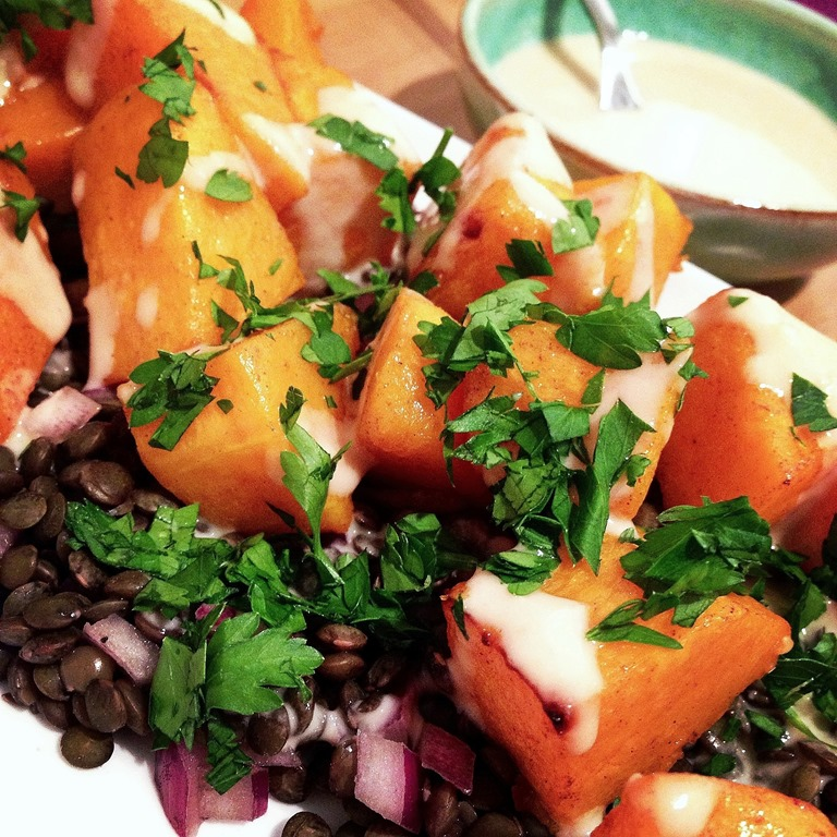 Warm Butternut Lentil Salad with Tahini Dressing