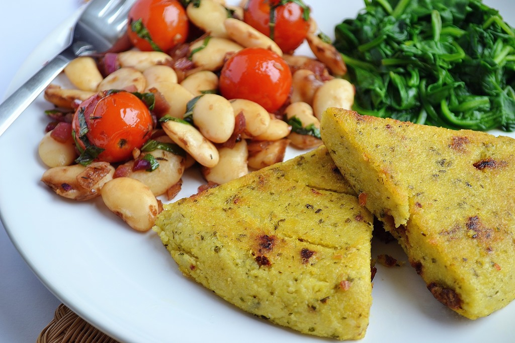 Pesto Polenta Triangles, Balsamic White Beans with Cherry Tomatoes + Basil