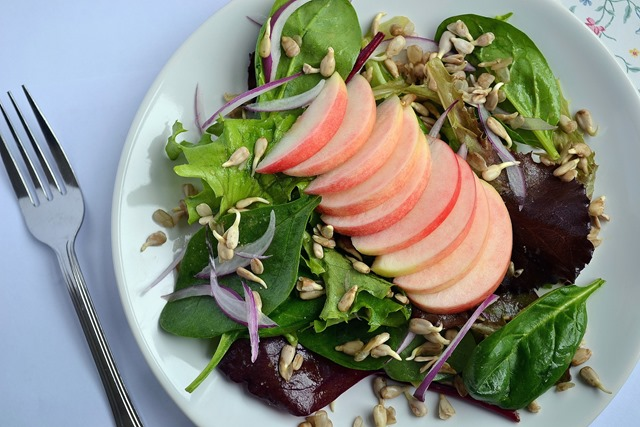 Babyleaf, Apple & Sunflower Seed Salad w/Miso-Lemon Dressing