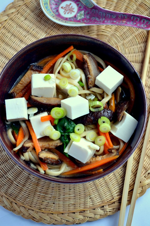 Tofu Miso Udon Noodle Soup For One