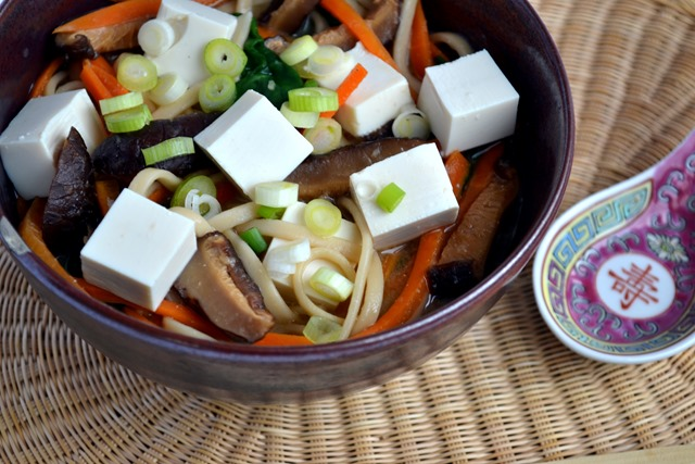 Tofu, Miso, Udon Noodle Soup (for one)