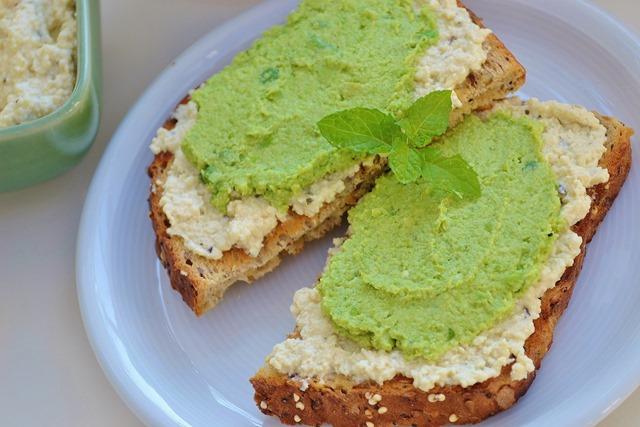 Edamame-Pea Dip + Tofu Ricotta Toasts