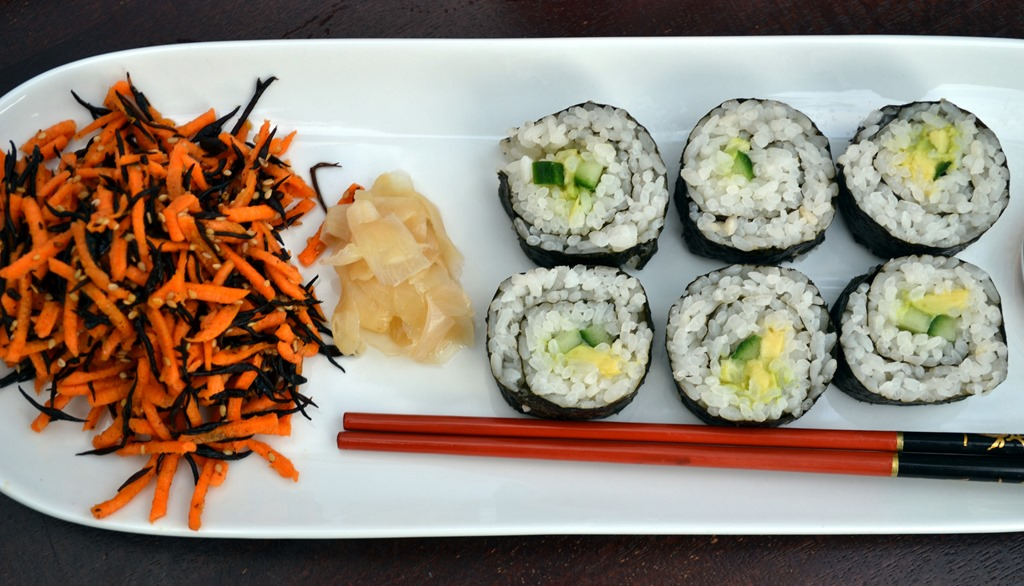 Hijiki-Carrot Salad, Avocado-Cucumber Sushi - Coconut and ...
