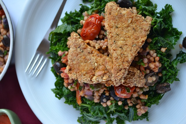 Nutty Crusted Tofu, Medterranean Pilaf + Roasted Red Pepper Sauce