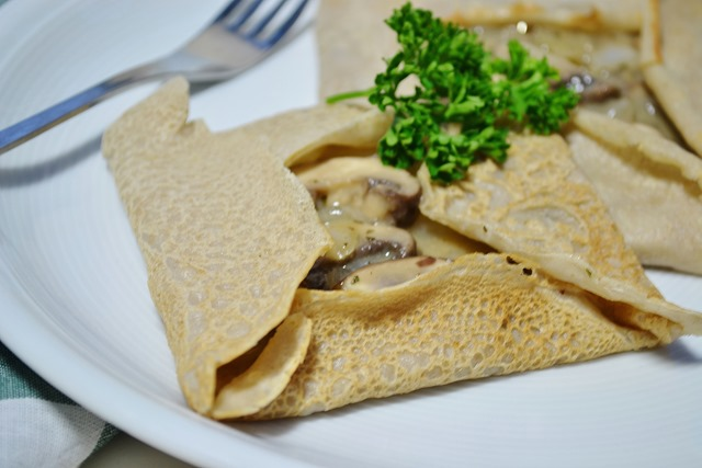 Buckwheat Crêpes with Creamy Mushroom Filling (Vegan)