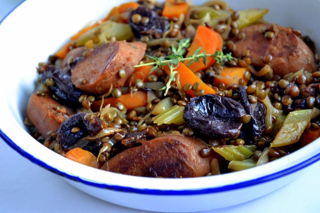 Vegan Sausage, Lentil & Prune Stew