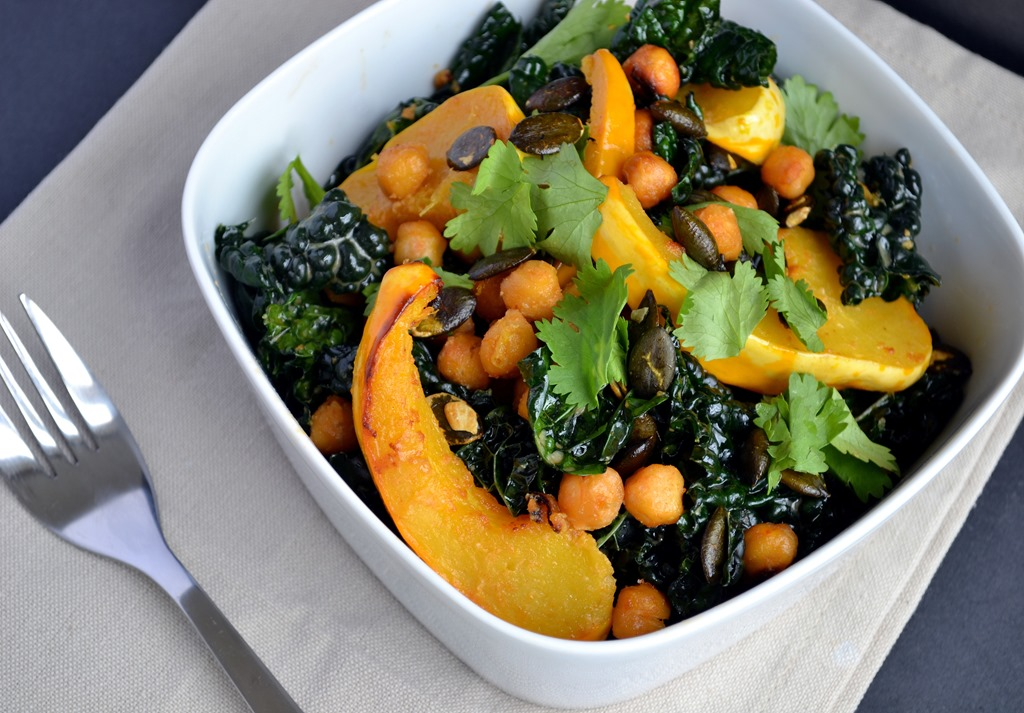 Miso-Curry Roasted Squash with Crispy Chickpeas & Kale