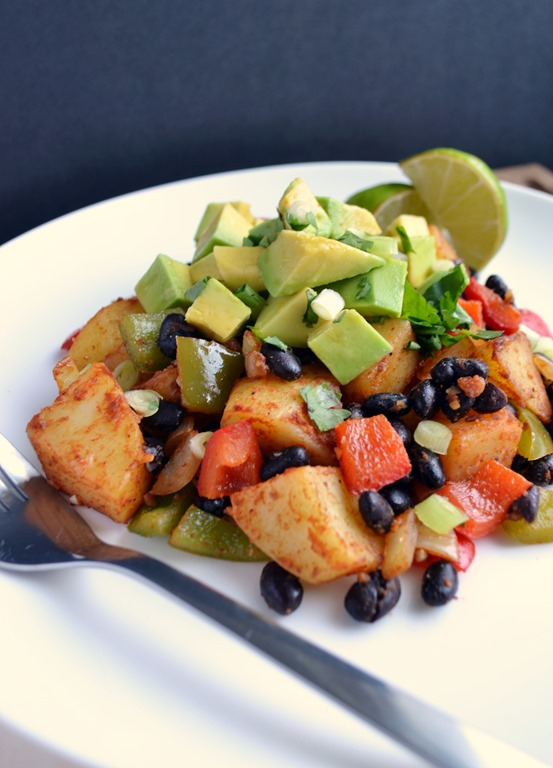 Smoky Black Bean, Potato & Avocado Hash