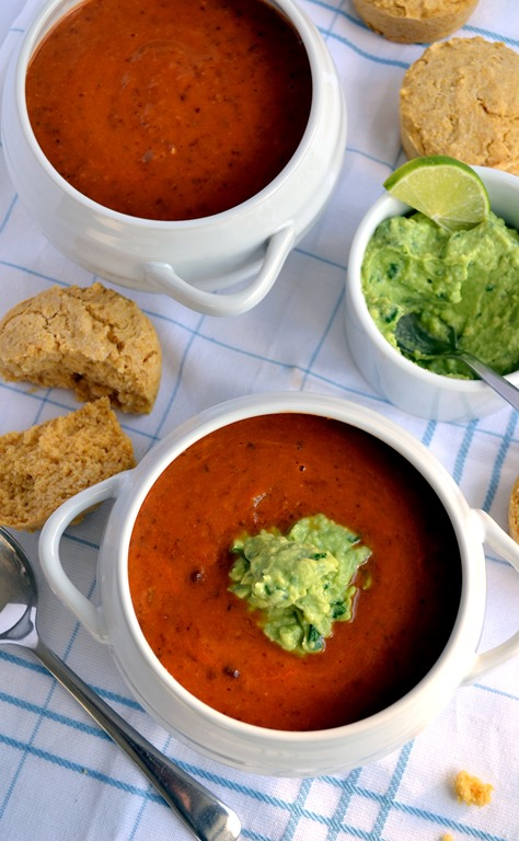 Chili-Bean Soup with Avocado-Lime Cream