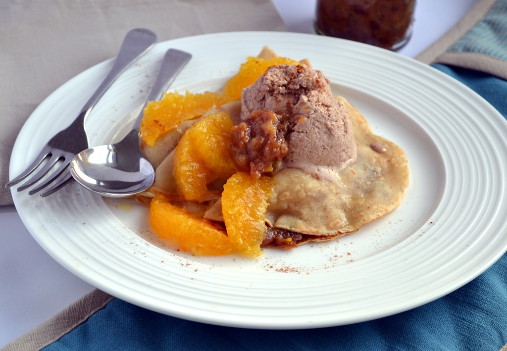 Vegan Crepes with Date & Orange Compote and Cinnamon Ice ...