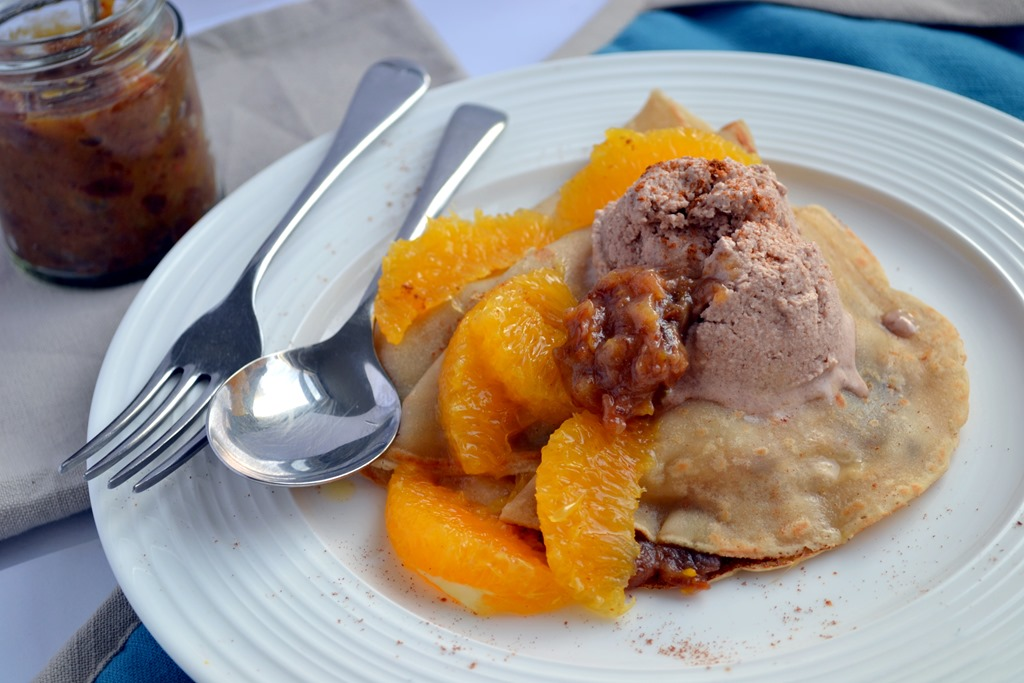 Vegan Crepes with Date & Orange Compote & Cinnamon Ice-Cream