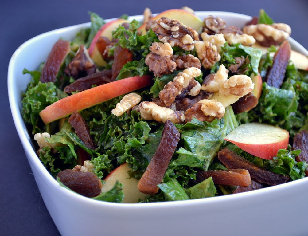 Kale Salad with Apricot-Ginger Dressing, Apples & Walnuts