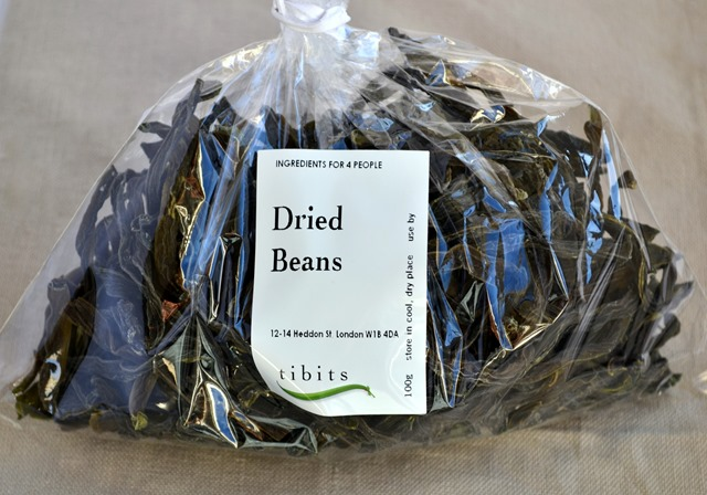 "Dried Green Bean Salad with Walnuts- ""tibits at home"" vegetarian cookbook- Review & Giveaway"