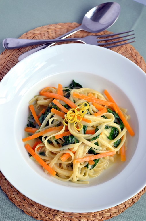 "Linguine with Pumpkin & Chard- ""tibits at home"" vegetarian cookbook- Review & Giveaway"