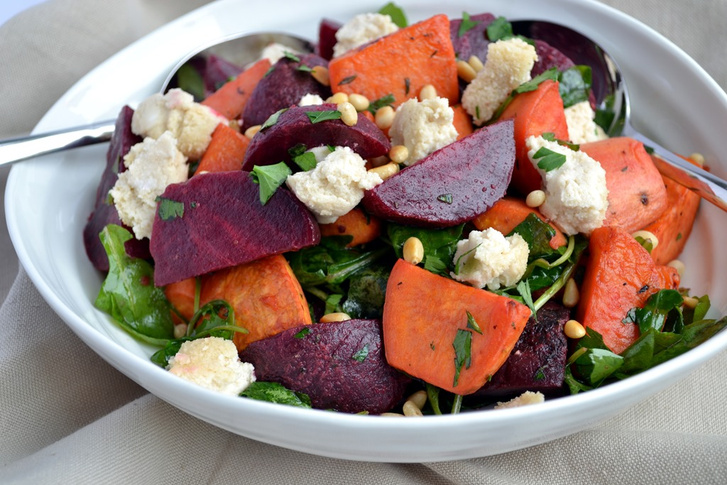 Beetroot & Sweet Potato Salad with Baked Cashew Cheese - Coconut and ...