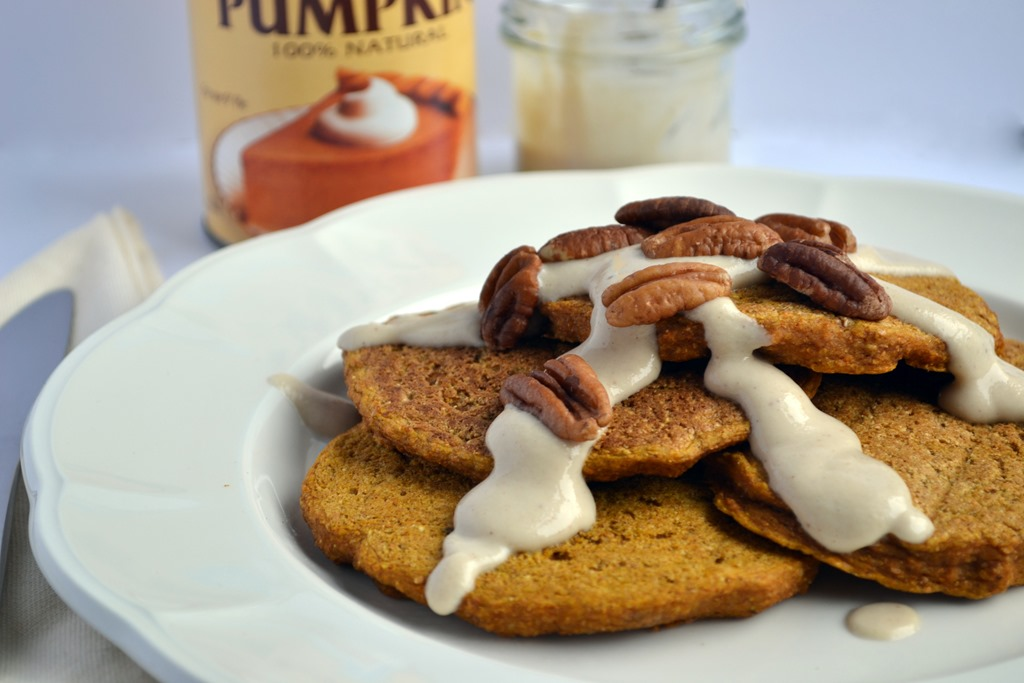 Pumpkin Pancakes with Maple-Cream Cheese Sauce