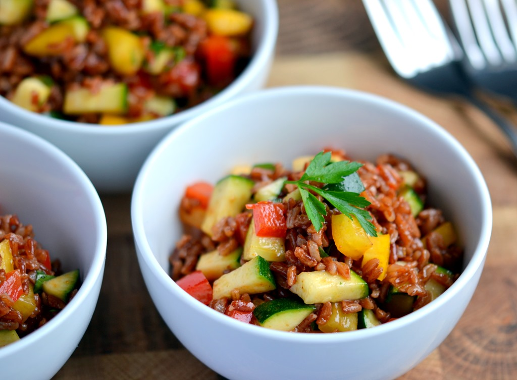 "Red Rice Salad- ""tibits at home"" vegetarian cookbook- Review & Giveaway"