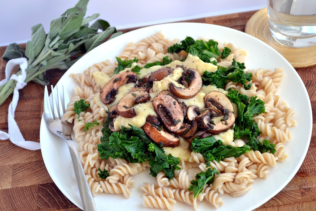 Creamy White Bean Pasta with Mushrooms & Sage