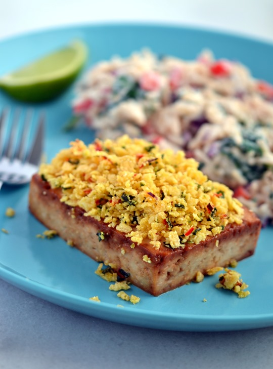 Chli-Lime Crusted Tofu with Creamy, Herbed Rice