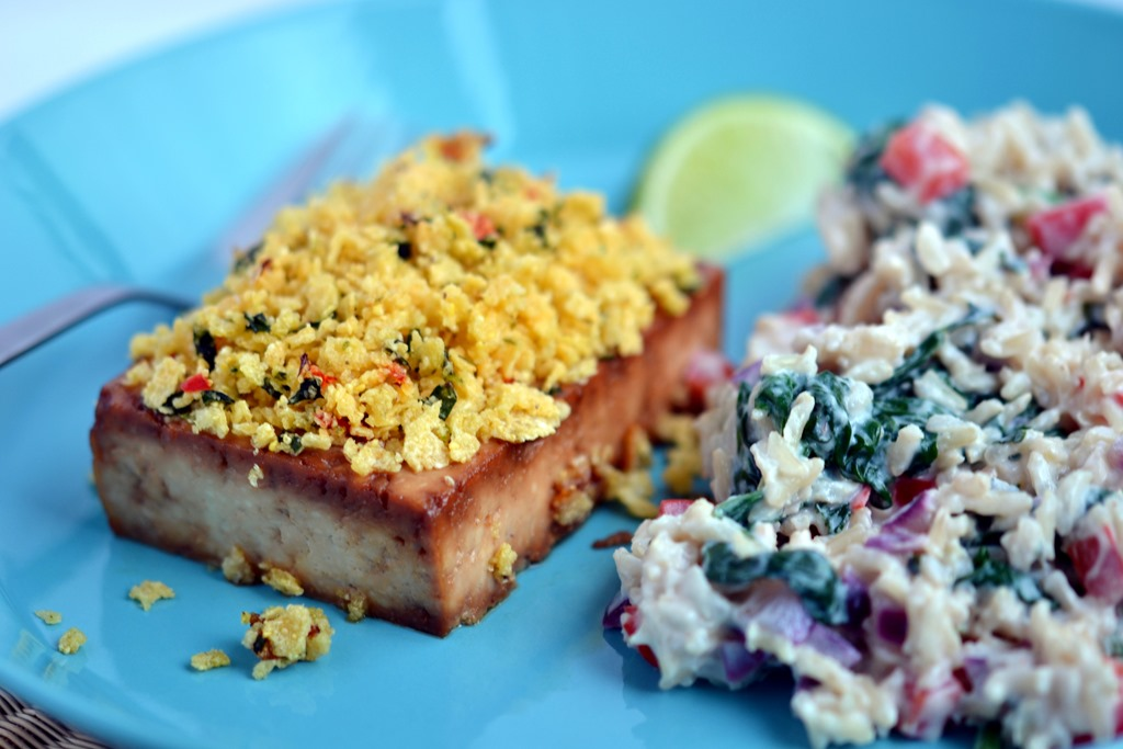 Chili-Lime Crusted Tofu with Creamy, Herbed Rice