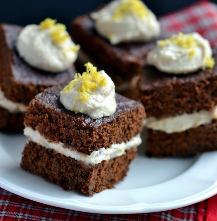 Gingerbread Cake with Lemon Cashew Cream (GF)